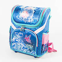Оптом школьный рюкзак для девочек с котиком - голубой - 18001, фото 1