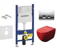 Комплект инсталляции Geberit 458.121.21.1 и Унитаз NEWARC Modern красный (3823R)