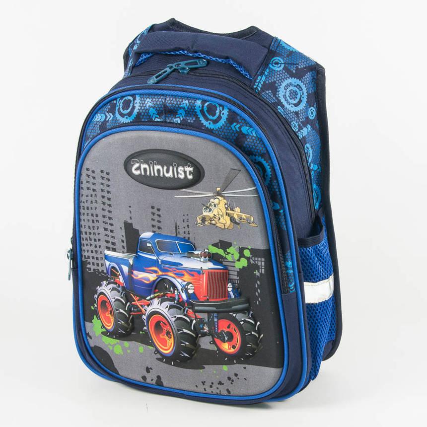 Оптом школьный рюкзак для мальчика с ортопедической спинкой машинка - синий - Y032, фото 2