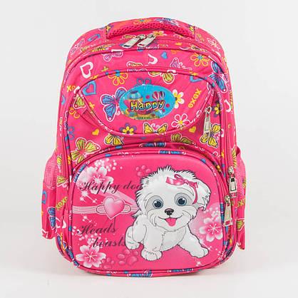 Оптом школьный рюкзак для девочек с ортопедической спинкой с собачкой - розовый - 31-Y020-1, фото 2