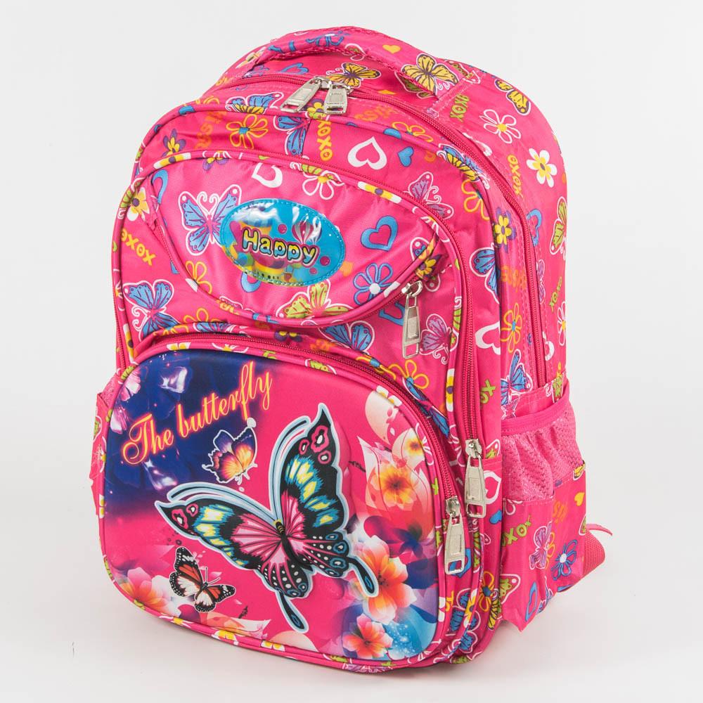 Оптом школьный рюкзак для девочек с ортопедической спинкой с бабочкой - розовый - 31-Y020-1
