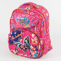 Оптом школьный рюкзак для девочек с ортопедической спинкой с бабочкой - розовый - 31-Y020-1, фото 1
