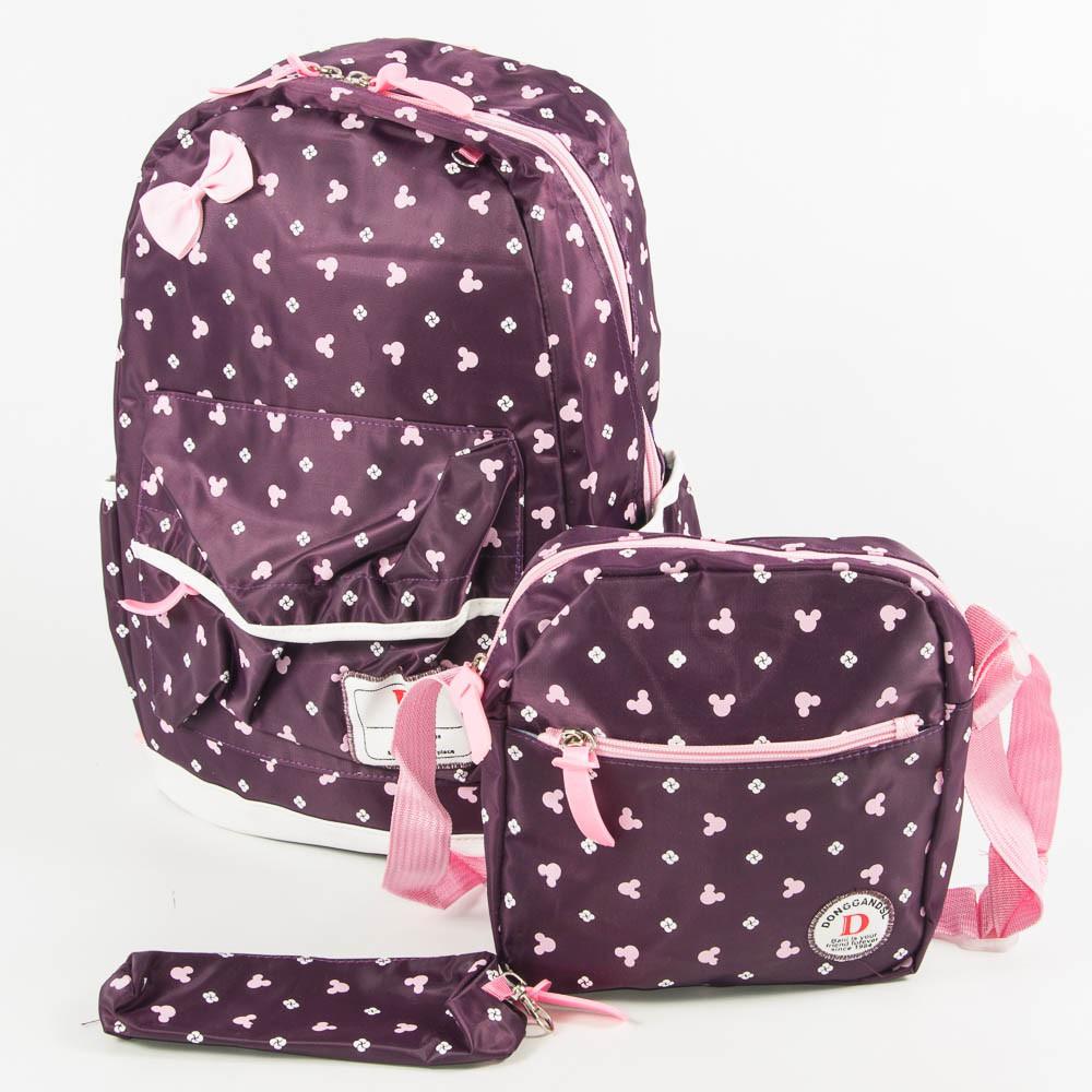 Оптом школьный/прогулочный рюкзак для девочек 3 в 1 - вишневый - 6-8325-2