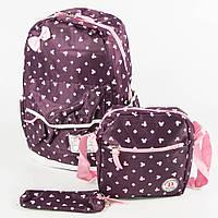 Оптом школьный/прогулочный рюкзак для девочек 3 в 1 - вишневый - 6-8325-2, фото 1
