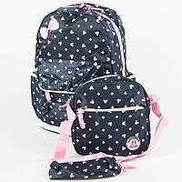 Оптом школьный/прогулочный рюкзак для девочек 3 в 1 - синий - 6-8325-2, фото 1