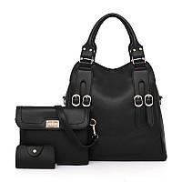 Набор женских сумок 3в1 черный из качественной экокожи с декоративными ремешками, фото 1
