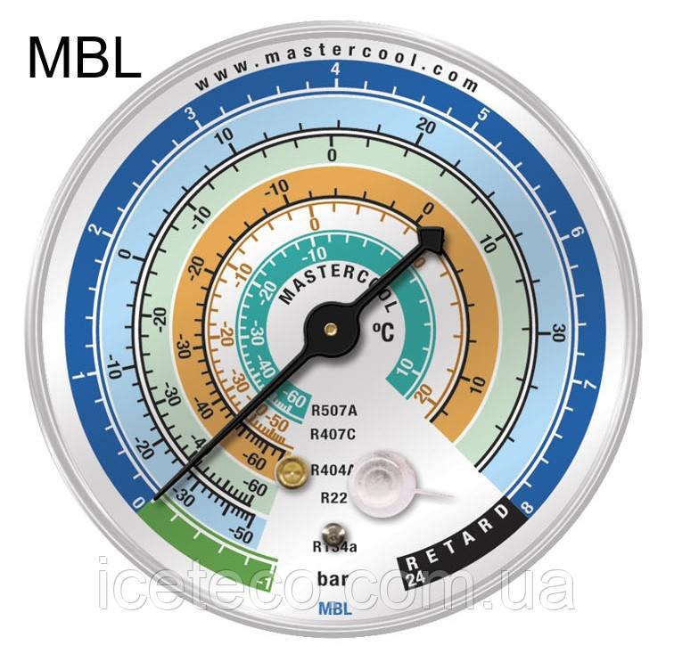 Манометр MBL Mastercool - LBP низкого давления на R-22, 134a, 404a, 407с, 507a; Bar/°C
