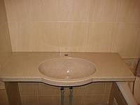 Столешница в ванную комнату из искусственного  камня