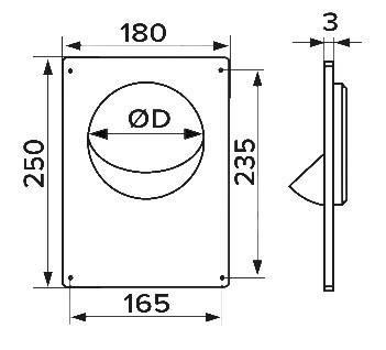 Площадка торцевая пластиковая 180х250 фланец D140 мм, шт, фото 2