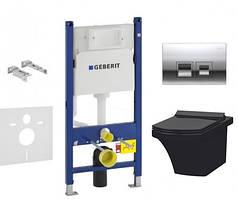 Комплект инсталляции Geberit 458.121.21.1 и Унитаз IDEVIT Vega (2804-0606-07) черный