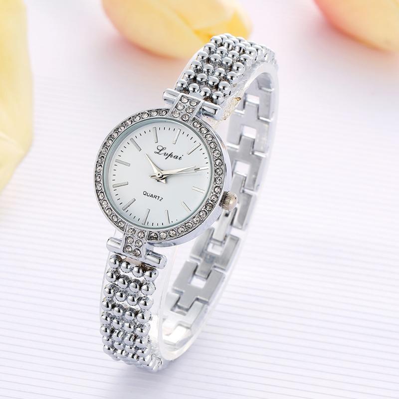 Часы наручные, Браслет: Серебро, Белый циферблат, Метки