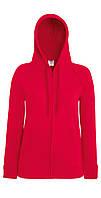 Женская Лёгкая Толстовка На Замке Красная Fruit Of The Loom 62-150-40 Xs, фото 1