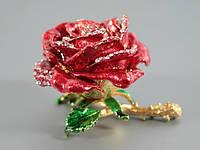 Шкатулка со стразами Роза красная