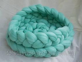 Шерсть для пледа (толстая пряжа) серия Кросс, цвет мята, фото 3