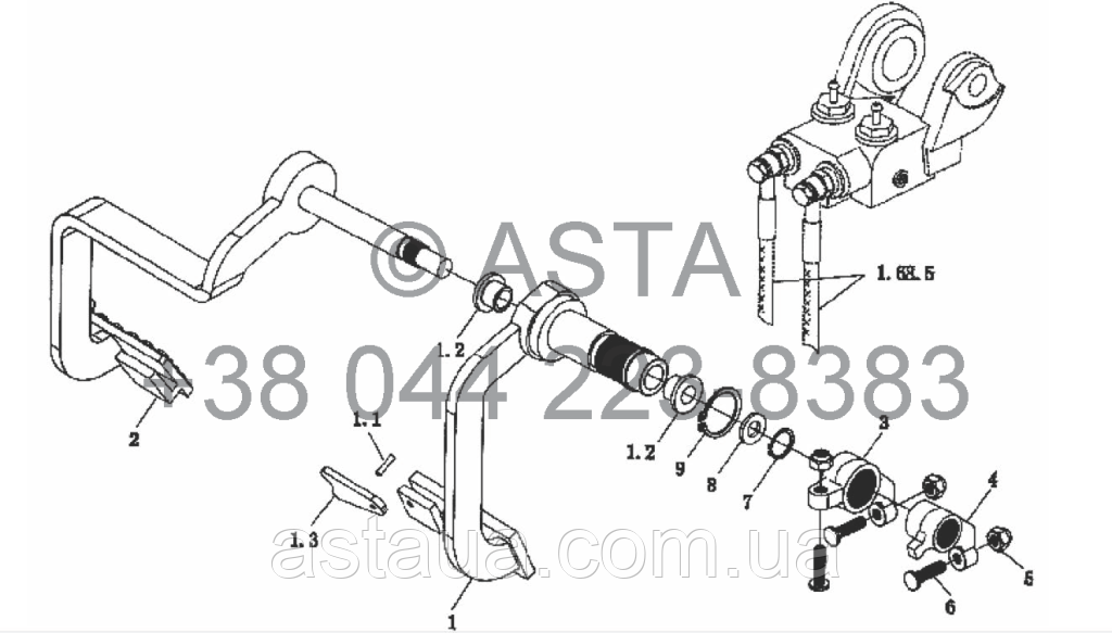 Стояночный тормоз - механизм контроля на YTO X904