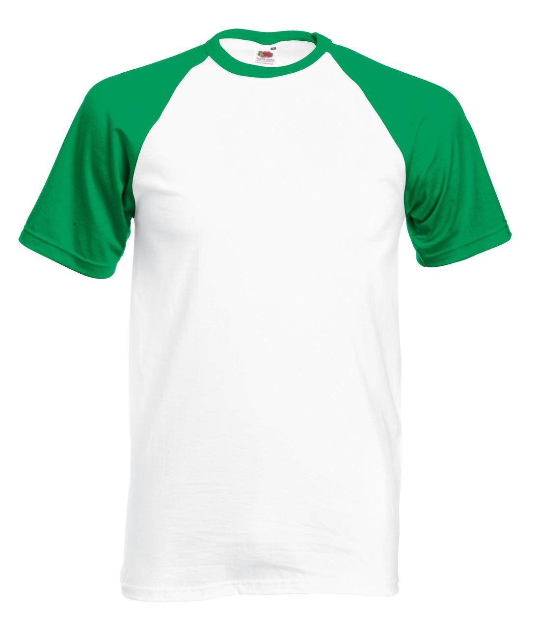 Мужская Футболка c Цветными Рукавами Fruit of the loom Белый/Ярко-зелёный 61-026-WK S