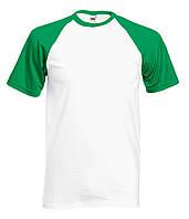 Мужская Футболка c Цветными Рукавами Fruit of the loom Белый/Ярко-зелёный 61-026-WK S, фото 1
