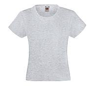 Детская Классическая футболка для Девочек Серо-лиловая Fruit of the loom 61-005-94 14-15, фото 1