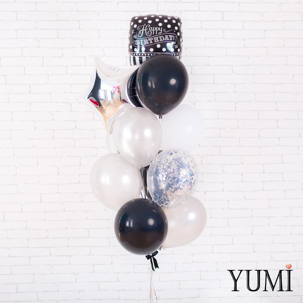 Стильная композиция их шаров с гелием для мужчины