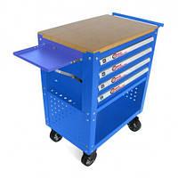 Тележка инструментальная 4-полочная(синяя)с деревянной столешницей+2боковые перфорации и лоток