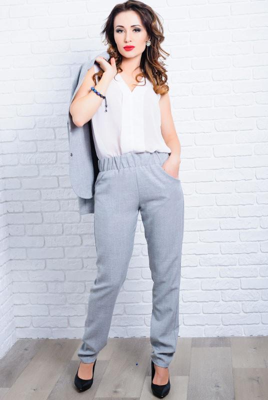 Серые летние брюки Крит лен
