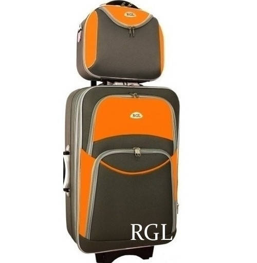 Комплект RGL 773 большой чемодан и кейс (Графитово-оранжевый)