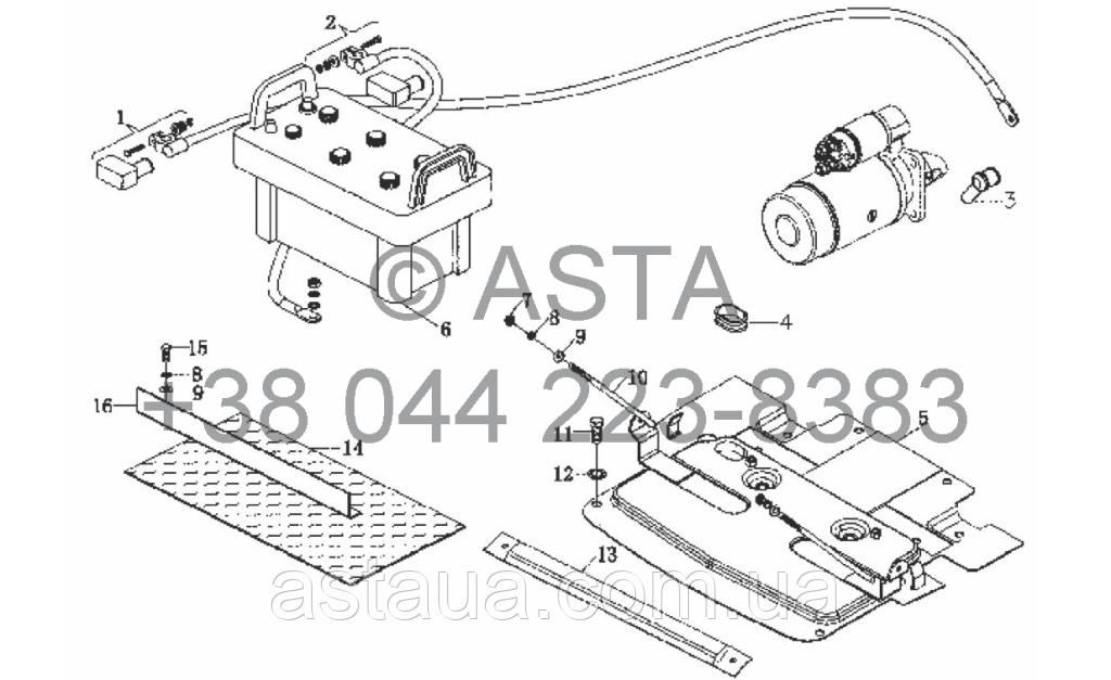 Аккумулятор и кронштейн на YTO X904