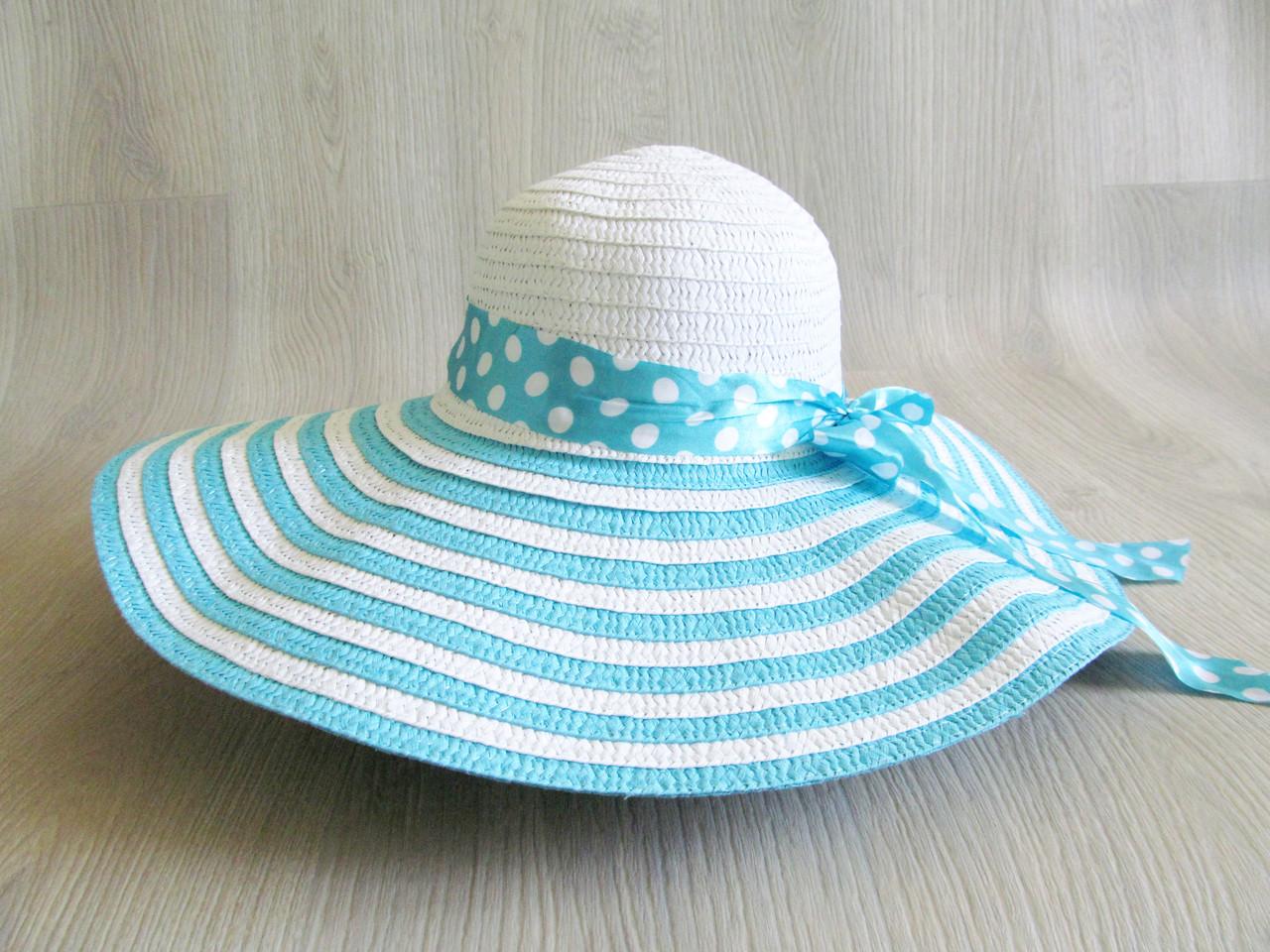 5d9f396bba02 Соломенная шляпа широкополая, пляжная шляпа, шляпка с лентой -