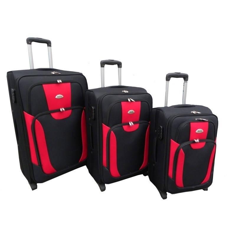 Комплект трех чемоданов RGL 1003 Черно-красный