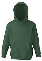 Детская классическая толстовка с капюшоном Тёмно-зелёная Fruit Of The Loom 62-043-38 5-6