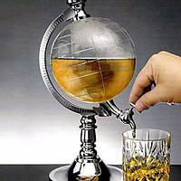 Резервуар для алкоголя 1,5л Глобус, Диспенсер, емкость для виски, штоф для коньяка, соков, напитков