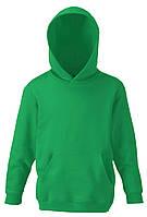 Детская классическая толстовка с капюшоном Ярко-зелёная Fruit Of The Loom 62-043-47  12-13, фото 1