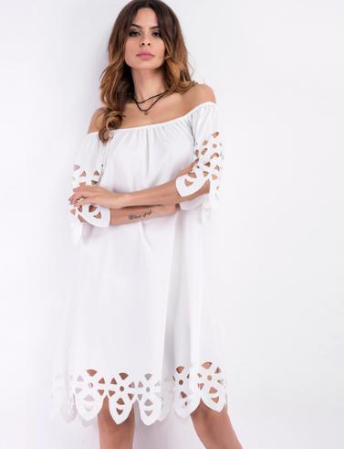 d25a55c29ac Белое летнее платье с открытыми плечами миди  продажа