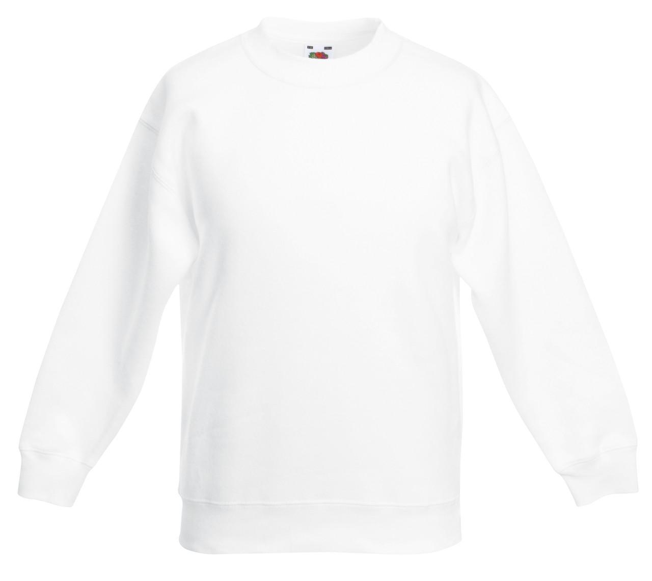 Детский классический свитер Белый Fruit Of The Loom  62-041-30 5-6