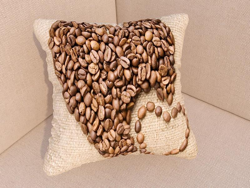 Фотоподушка кофейное сердце