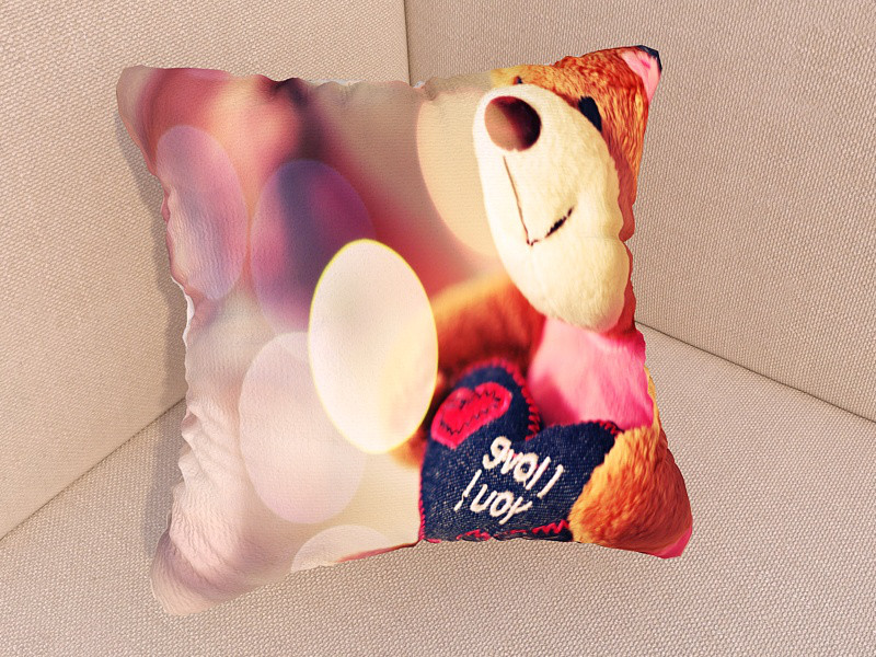 Фотоподушка влюбленный мишка