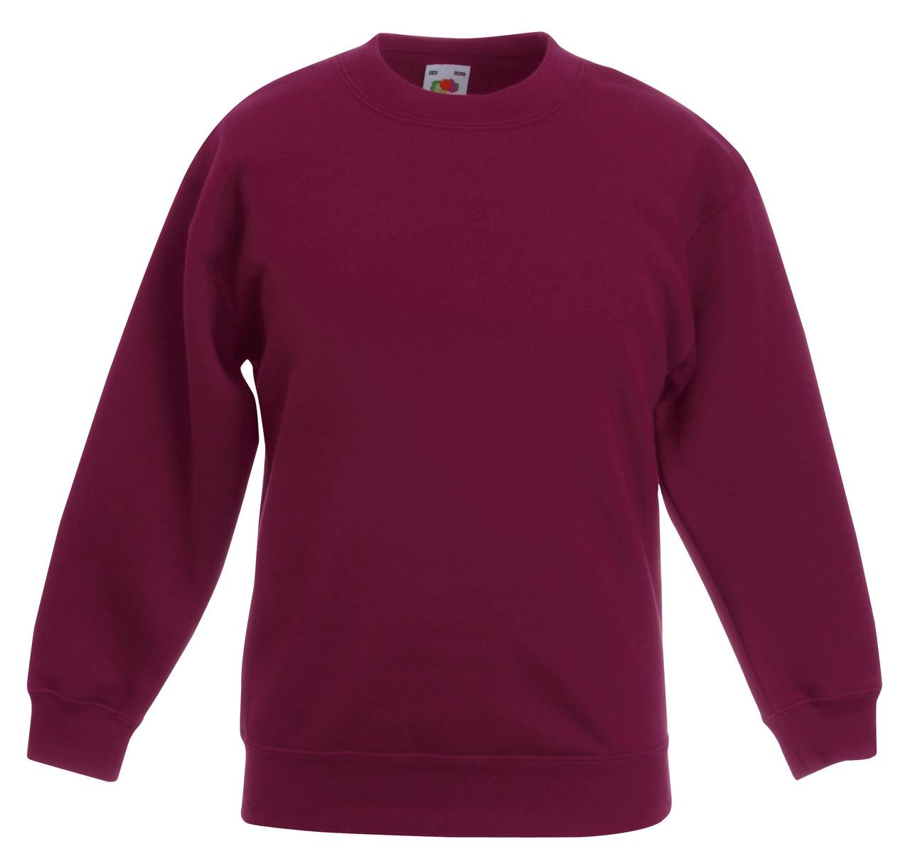 Детский классический свитер Бордовый Fruit Of The Loom  62-041-41 9-11