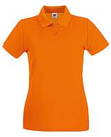 Женское премиум  поло Оранжевое  Fruit of the loom 63-030-44 M