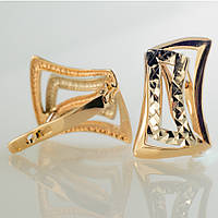 Золотые серьги с алмазной гранью.СП20262А