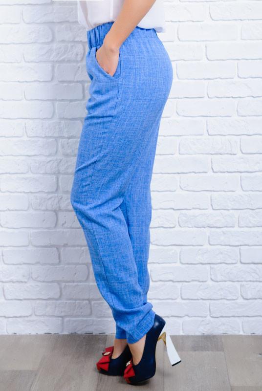 Женские летние брюки батал Крит голубой