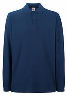 Мужское Поло Премиум с Длинным  рукавом Тёмно-Синее Fruit of the loom 63-310-32 XXL