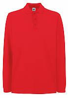 Мужское Поло Премиум с Длинным рукавом Красное Fruit of the loom 63-310-40 XL