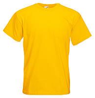45429de34ce19 Плотная Мужская Футболка Супер премиум Солнечно-жёлтая Fruit of the loom  61-044-34