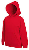 Детская премиум толстовка с капюшоном Красная Fruit Of The Loom 62-037-40  9-11