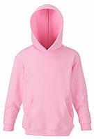Детская премиум толстовка с капюшоном Светло-розовая  Fruit Of The Loom 62-037-52  5-6