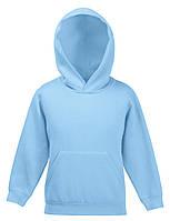 Детская премиум толстовка с капюшоном Небесно-голубая Fruit Of The Loom 62-037-YT 5-6