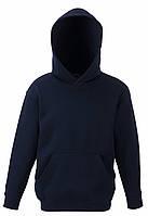 Детская премиум толстовка с капюшоном Глубоко Тёмно-синяя  Fruit Of The Loom 62-037-AZ  12-13