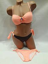 Купальник 31803 Тройка с двумя трусами персиковый  на наш 50 размер., фото 3