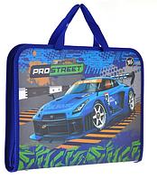 Папка-портфель на молнии с тканевыми ручками Street racing. Папка портфель для ребенка.