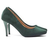 Зеленые замшевые женские туфли NKN-171466 36,37,38,39,40